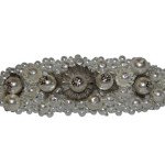 Hand Beaded White and Silver Clip