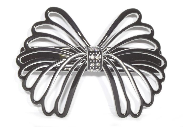 Black White Bow Clip